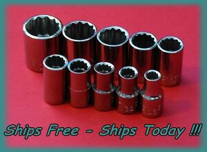 Craftsman 1 4 Drive 10 Pc Piece 12pt Point Sae Socket Set Standard Inch Std New