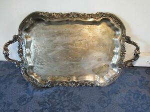 F B Rogers Rococo Scroll Applied Footed Scalloped Serving Waiter Tray 20 X 14