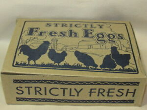 Vintage Strictly Fresh Eggs One Dozen Cardboard Box From A Mass Farm Unused