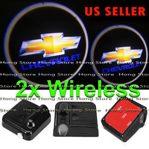 2x Wireless Chevrolet Ghost Shadow Projector Logo Led Door Step Light Courtesy