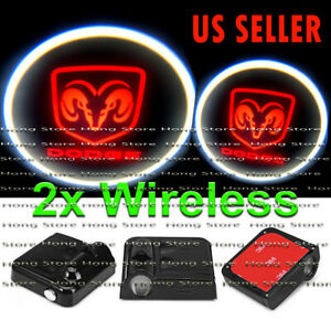 2x Wireless Dodge Ghost Shadow Projector Logo Led Courtesy Door Step Lights