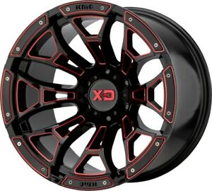 20 Inch Red Black Wheels Rims Lifted Chevy Silverado 1500 Truck Gmc Sierra Yukon