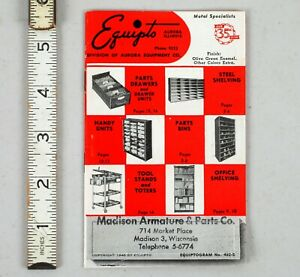 Vintage 1948 Equipto Metal Specialists Catalog Shelving Aurora W Order Card