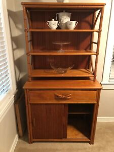 Vintage Bamboo Hutch Server Heywood Wakefield Awesome