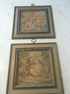 2 Antique Framed Needlepoint Tapestry Wall Art Courtship Scene Lady