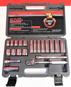 Cougar Pro Wright A34 3 8 Drive 12 Point Standard Deep Socket Set 21 piece