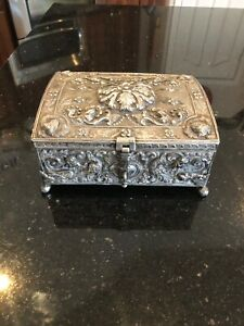 Absolutely Beautiful Large Very Ornate Repousse Sterling Silver Box