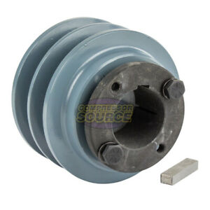 Cast Iron 3 35 2 Groove Dual Belt B Section 5l Pulley And 1 3 8 Sheave Bushing