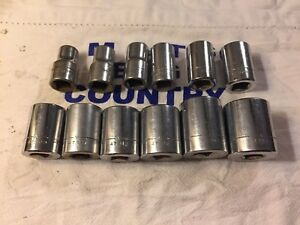 Craftsman 1 2 Dr 12pc 12pt Sae 7 16 1 1 16 Shallow Socket Set All v Usa