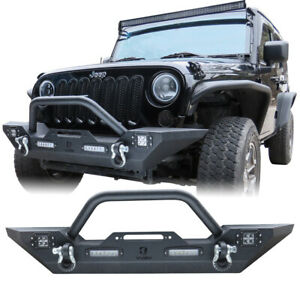 Vijay Front Bumper With Winch Plate Led Lights For 07 17 Jeep Wrangler Jk