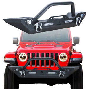 Vijay Black Front Bumper With Winch Plate For 2018 2020 Jeep Wrangler Jl