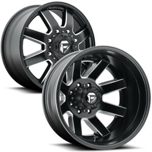 Set Of 6 24 Inch Fuel D538 Maverick Dually 8x170 Black Milled Wheels Rims