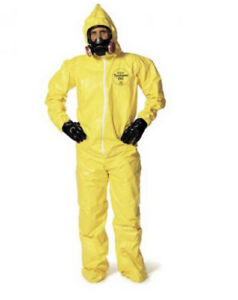 Dupont Tychem qc 122 Yellow Coverall Standard Hood booties Elastic Wrists Med