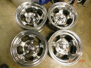 Polished Set 13 X 6 1 2 Slot Mag Wheels 5 On 4 3 4 Corvair Nova Buick Olds Gm