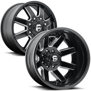 Set Of 6 24 Inch Fuel D538 Maverick Dually 8x210 Black Milled Wheels Rims
