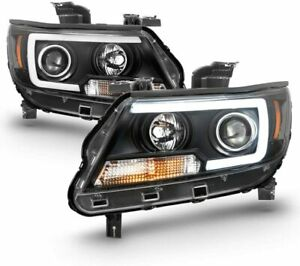 15 19 Chevy Colorado Led Tube Dual Halo Projector Headlights Black Lt Wt Z71 Zr2
