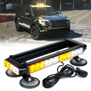 Xprite White Yellow 14 5 Led Strobe Light Bar Rooftop Emergency Warning Trucks