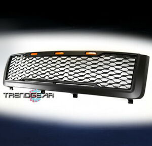 For 2011 2014 Chevy Silverado 2500 3500 Hd Hood Upper Grille W Amber Light Black