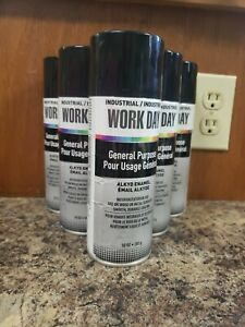6 Krylon Industrial Work Day General Purpose Enamel Spray Paint Gloss Black