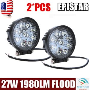 2pcs 4in 27w Round Flood Beam Led Work Light Driving Fog 4wd Front Bumper Light