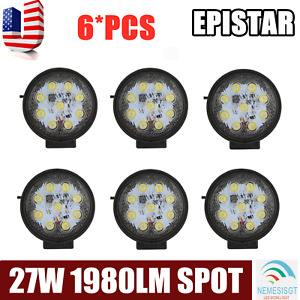 6x 27w Led Work Light Suv Lamp Truck Off Road Tractor Spot Lights 12v 24v Round