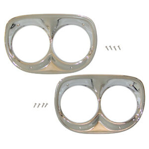 1958 1959 Chevrolet Truck Headlight Bezels Set Of 2 W Hardware 58 13045 C New