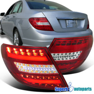 For 2008 2011 Mercedes C Class C300 C350 Led Brake Signal Tail Lights Red Clear