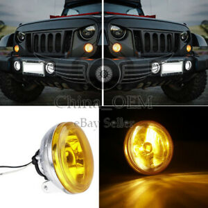 Pair Of 4 Universal Fog Light Lamps Round Chrome Housing Yellow Lens W Harness