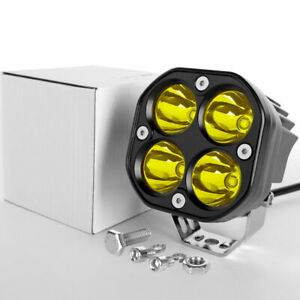 3 12w Cree Led Work Light Pods For 4x4wd Off Road Car Driving Yellow Spotlight