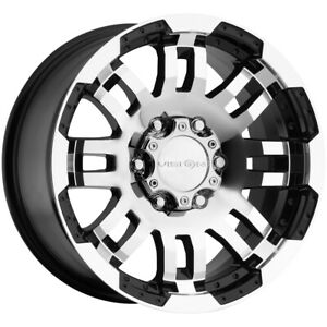 4 Vision 375 Warrior 17x8 5 6x5 5 25mm Black Machined Wheels Rims 17 Inch