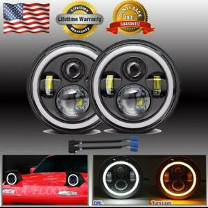 Pair Dot 7 Inch Round Led Headlight Halo Hi low Beam Drl For Am General Hummer