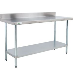 24 X 60 Stainless Steel Work Prep Shelf Table With Backsplash Commercial Nsf