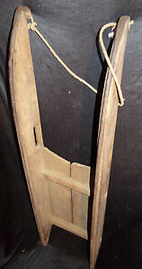 Antique 19th C Child S Wooden Sled Wrought Iron Runner Primitive 1800s