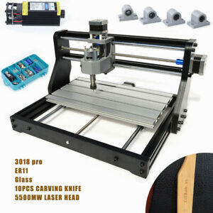 2 In 1 Cnc 3018pro Router Kit 5500mw Laser Milling Engraver Machine 3 axis Er11