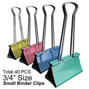 Binder Clips Small Colorful Metal Clamp 0 75 Inch 19 Mm 40 Pcs
