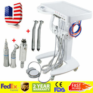 Portable Dental Delivery Mobile Cart Unit Equipment 4hole Handpiece Kit Moveable