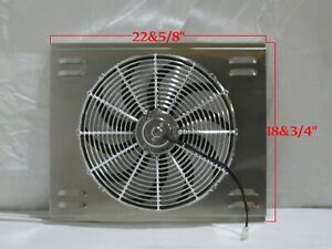 23 X 19 Universal Radiator Fan Shroud And 16 Chrome Fan 2600cfm
