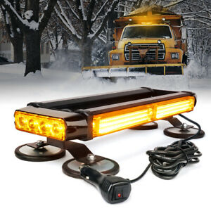 Yellow Amber Rooftop Led Strobe Light Bar W Magnetic Base Double Side Flashing