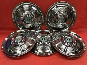 Vintage Set Of 5 1955 Chrysler 15 Hubcaps Windsor Good Condition