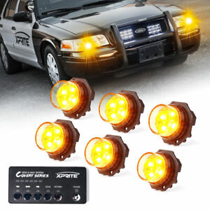 Xprite 6pcs Yellow Led Strobe Lights Hide A Way Control Box Amber Flashing Light