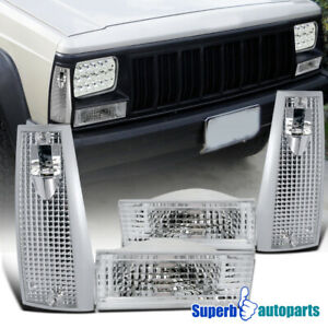 For 1984 1996 Jeep Cherokee Corner Signal Lights Bumper Parking Lamps