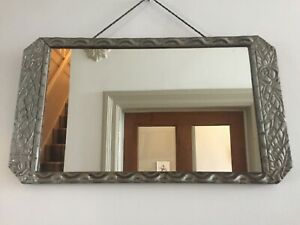 French Art Deco Vintage Antique Wall Mirror 1920s 1930s Distressed Silve