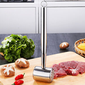 Stainless Steel Meat Tenderizer Mallet Hammer Pounder Dual sided Tool Flatten