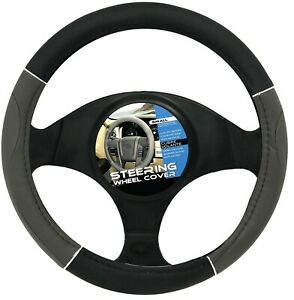 New Gray Black Chrome Car Steering Wheel Cover Pu Leather Size S 13 5 14 5