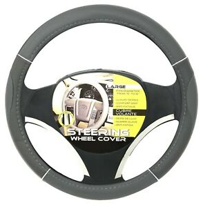 New Gray Chrome Accents Car Steering Wheel Cover Pu Leather Size L 15 16