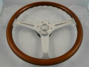 Vintage Momo Wood Steering Wheel Typ Jl36 Silver Horn Button Rare A198