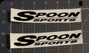 2x Spoon Sports Logo Decal Gloss Black Die Cut Vinyl Sticker 6