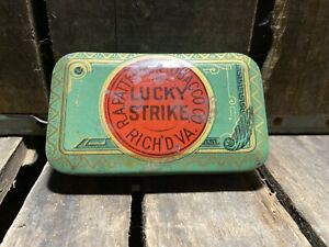 OLD LUCKY STRIKE TOBACCO HORIZONTAL POCKET TIN CLEAN AMERICAN CAN CO. NICE