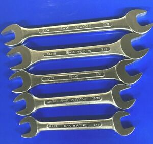 Nos S K Tools 5pc Double Open End Sae Wrench Set Usa New Mint