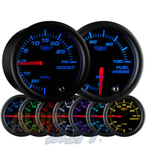 Glowshift 52mm Black 7 Color Boost Vacuum 100psi Fuel Pressure Gauge Set